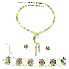 Trifari Alfred Philippe Pastel Fruit Salad & M.O.P Necklace, Bracelet & Earrings
