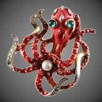TRIFARI Coral Enamel and Pave Rhinestones Octopus Pin with Pearl Pin