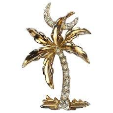TRIFARI 'Alfred Philippe' Diamante Palm Tree and Crescent Moon Pin