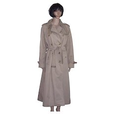 BURBERRY PRORSUM Classic Khaki Trenchcoat/Rain Coat w/Nova Check Lining Women's Size UK and US 12-14