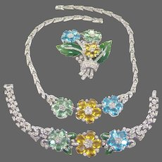 TRIFARI 'Alfred Philippe' Tricolor Pastel and Enamel Floral Necklace, Bracelet and Clip/Pin