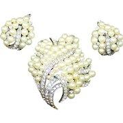 TRIFARI Pearl and Diamante Leaf Pin and Clip Earrings Set