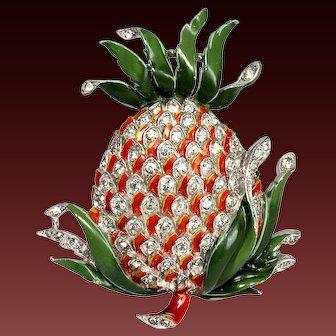 TRIFARI 'Alfred Philippe' Enamel & Rhinestones Pineapple Pin/Clip