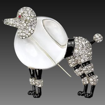TRIFARI 'Alfred Philippe' Enamel and Pave 'Big Poodle' Jelly Belly Clip/Pin