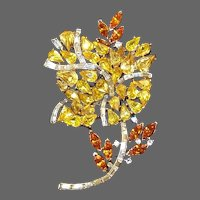 TRIFARI 'Alfred Philippe' Citrine Topaz and Diamante Baguettes Yellow Rose Pin
