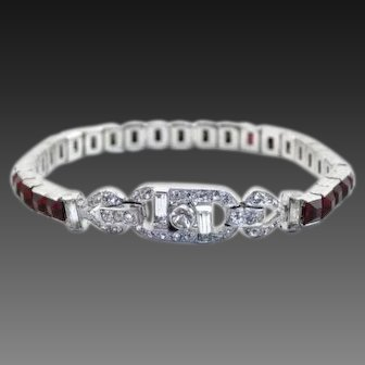 TRIFARI 'Alfred Philippe' Deco Invisibly Set Ruby and Diamante Link Bracelet