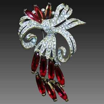 TRIFARI  'Alfred Philippe' Large Pave Bow and Ruby Petals Floral Spray Clip/Pin