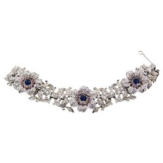 TRIFARI 'Alfred Philippe' Rare 1940's Deco Ruby, Sapphire and Diamante Floral Link Bracelet