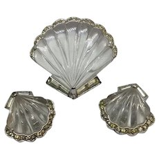 TRIFARI  'Alfred Philippe' Jelly Belly 'Moonshell' Seashell Pin Clip and Clip Earrings Set