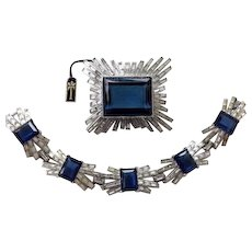 TRIFARI 'Alfred Philippe' Emerald-cut Sapphire and Diamond 'Starburst' Bracelet and Giant Pin Set