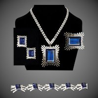 TRIFARI 'Alfred Philippe' Giant Sapphire and Diamond 'Monte Cristo' Necklace, Bracelet, Pin and Clip Earrings Set