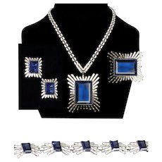 TRIFARI 'Alfred Philippe' Giant Sapphire and Diamond 'Starburst' Necklace, Bracelet, Pin and Clip Earrings Set
