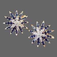 TRIFARI 'Alfred Philippe' Sapphire and Diamante 'Starflight' Clip Earrings