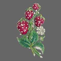 TRIFARI  'Alfred Philippe' Enamel and Rhinestone 'Strawberries' Clip/Pin