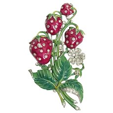 TRIFARI  'Alfred Philippe' Enamel and Rhinestone 'Strawberries' Clip/Pin