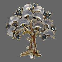 TRIFARI Alfred Philippe Clair de Lune Sapphire, Moonstone Demilune Large 'Tree of Life' Pin