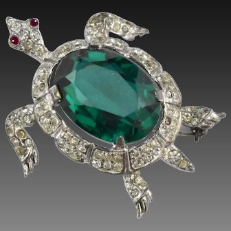 TRIFARI 'Alfred Philippe' Sterling Emerald and Pave Crystals Sea Turtle Pin