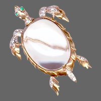 TRIFARI 'Alfred Philippe' STERLING Lucite Jelly Belly Sea Turtle Pin
