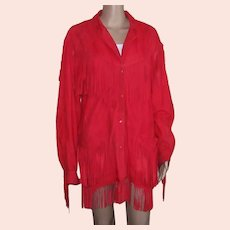 VAKKO 1989 Red Suede Fringed Suede Leather Jacket, Size Medium to Large