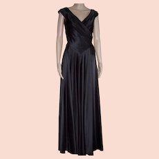 CARMEN MARC VALVO Vintage Black Satin Gown, Size 6