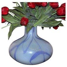 1980's ITALIAN Art Deco Style Off-white w/Lavender Swirls Glass Vase