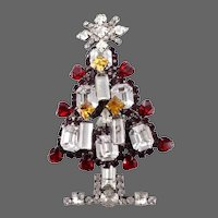 LAWRENCE VRBA  Massive Red, Topaz and Diamante Crystals Christmas Tree Pin