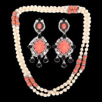 LAWRENCE VRBA Massive Coral, Jet Crystal and Diamante Shoulder-duster Clip Earrings w/Pearl, Coral, and Rondelles Sautoir Necklace