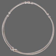 DAVID YURMAN Sterling Silver Double Cable Crossover Diamond 'X' Necklace
