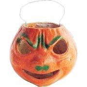 Vintage Halloween Paper Mache Angry Pumpkin Face