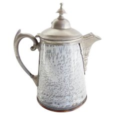 American Grey Gray  Graniteware and Pewter Coffee Pot Antique