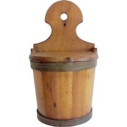 Antique Wooden Barrel Shaped Salt Box Wall Hanging
