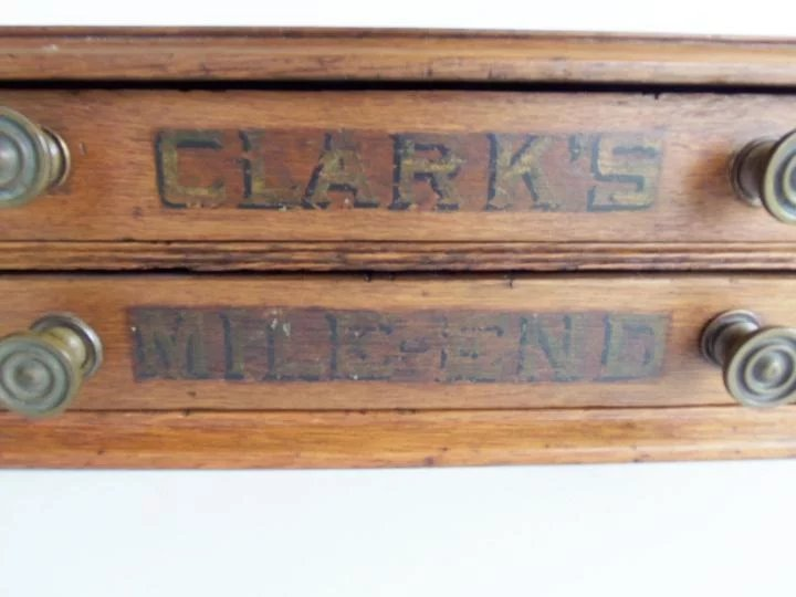 Click to expand - Antique 2 Drawer Clark's Mile End Spool Thread Cabinet Counter Store