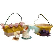 Vintage Easter Baskets Chenille Bunny and Chick Occupied Japan 1929