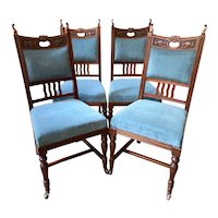 Antique English Art Nouveau Carved Mahogany Blue Velvet Dining Chairs Set of 4.