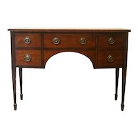 Antique 1920's Federal Style Banded Mahogany Bow Front Sideboard, Brandy Board, Server, Buffet.