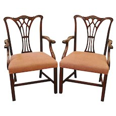 Vintage Pair of Chippendale Style Mahogany Arm Chairs, Dining Chairs.