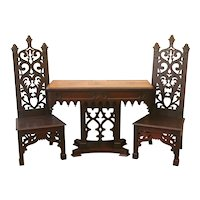 Antique 19th Century Gothic Revival Dark Oak Hall Console Table and High Back Chairs.