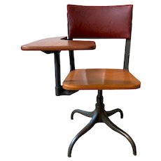 Vintage Retro Steel and Wood Student Chair with Tablet Arm C.1930.