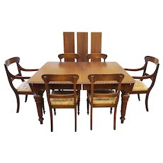 Antique Mahogany Dining Set, Extending Table with Leaves and 6 Chairs, Empire Style, Ridpath, Toronto, Canada, C1910.
