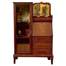 Antique Inlaid Mahogany Side By Side Secretary Desk Bookcase.