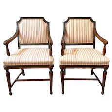 Pair of Antique Mahogany Arm Chairs Sheraton Style Late 19th Century