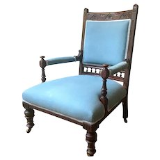 Antique English Victorian Carved Dark Oak Upholstered Arm Chair