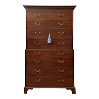 Antique English George III Mahogany Chest on Chest Late 18th Century.