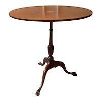 Antique George III Style Mahogany Tilt Top Inlaid Candle Stand Side Table, English C.1910