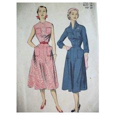 Vintage Pattern 1950s Season-Spanning Day Dresses Size 14, UNCUT