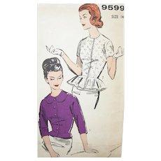 Vintage Pattern 1960s Peplum Blouses UNCUT