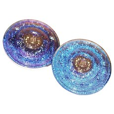 Vintage Button Reverse Painted Glass Blue-Purple