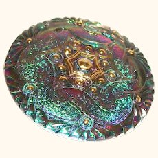Vintage Buttons Reverse Painted Textured Glass Peacock-Gold