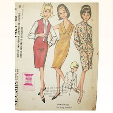 Vintage Pattern: 1960's Jumper, Dress, and Blouse UNCUT