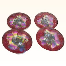 Vintage Glass Buttons, Reverse Painted Kaleidescope Colors Set of Four